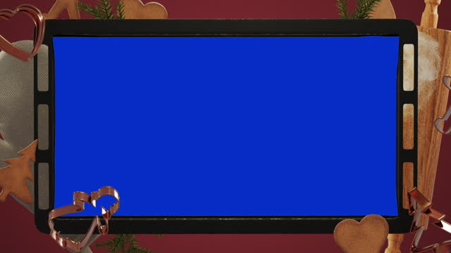 Christmas baking background - With Blue Screen