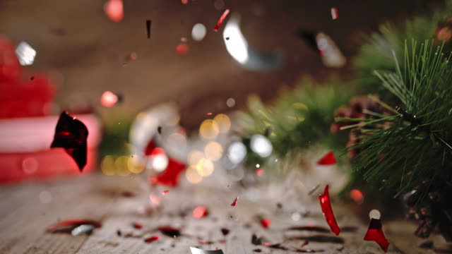 SLO MO Christmas ball crushed into pieces