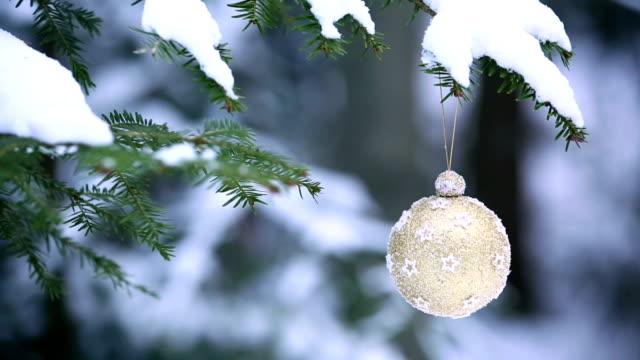 christmas ball hanging on winter tree pan - christmas decorations bildbanksvideor och videomaterial från bakom kulisserna