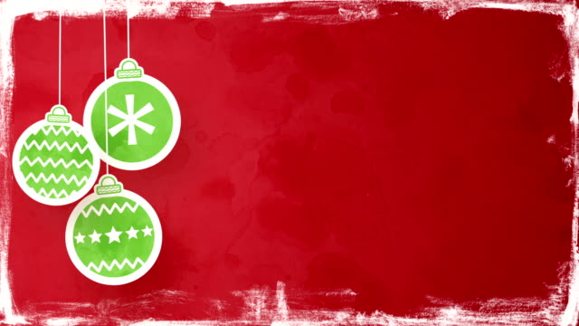 christmas balls on red loopable background video