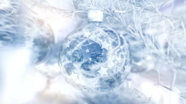 Christmas balls with nice whiteblue winter feel. video