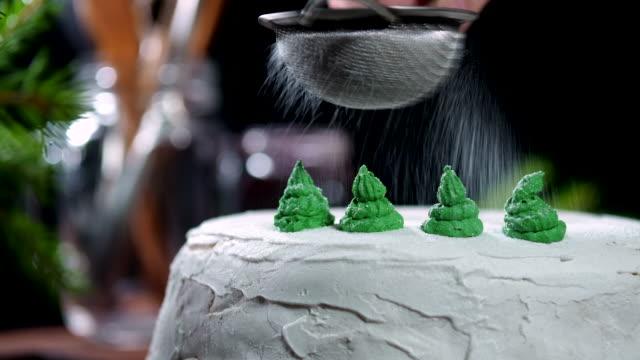 vídeos de stock e filmes b-roll de christmas cake decorating - christmas cake