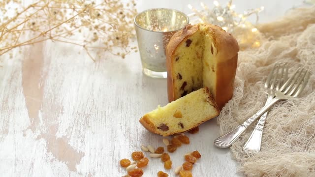 christmas cake with dry fruits - panettone video stock e b–roll