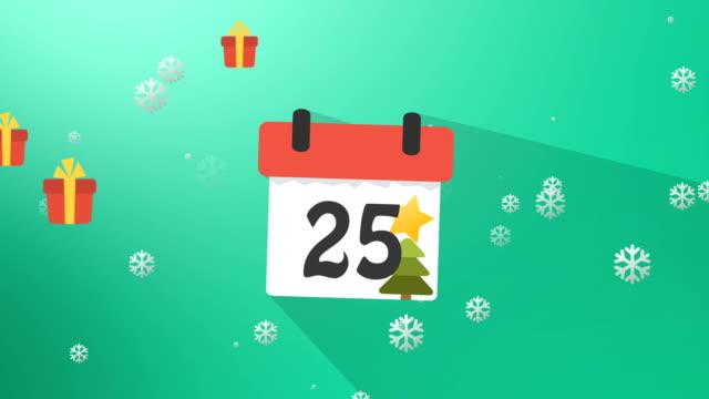Christmas Calendar 1 to 25 Green Infographics video