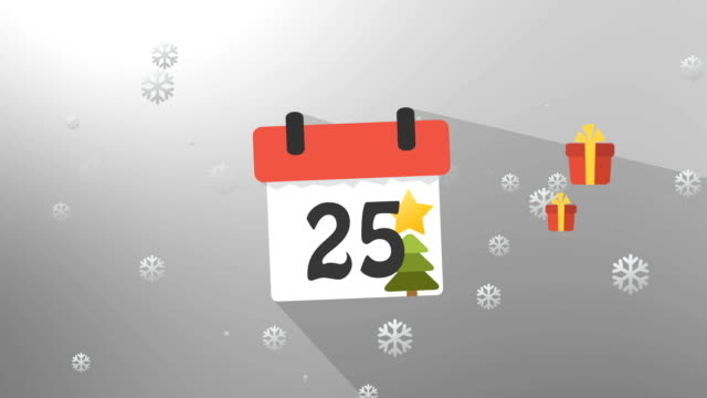 Christmas Calendar Gray Infographics video
