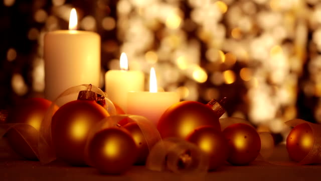 Christmas Candles and Balls. Changing Light video