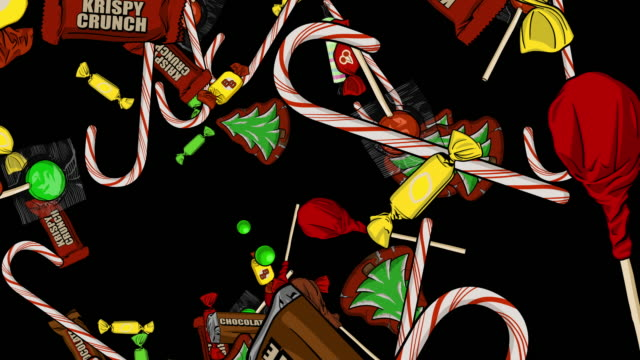 Christmas Candy Explosions Center Left Right Top Bottom Alpha Channel This animated Candy backdrop was hand drawn on Photoshop and animated in After Effects. Perfect for any project. christmas stocking stock videos & royalty-free footage