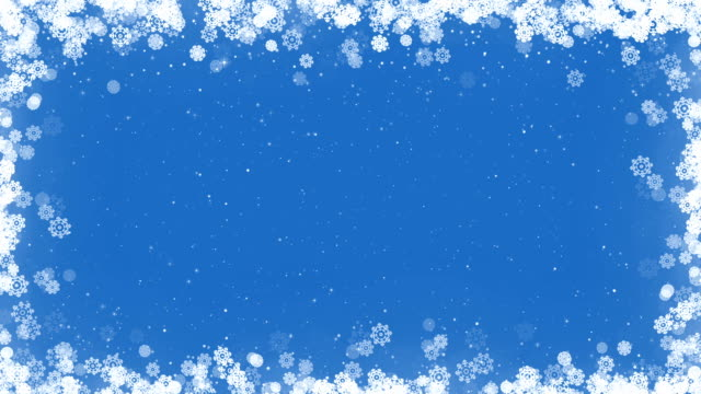 Christmas Card Frame with Snowflakes on Blue Background. video
