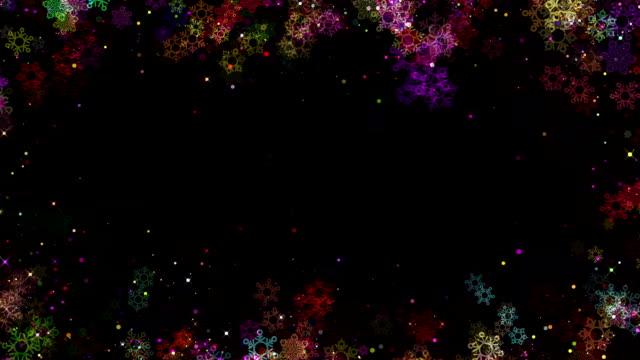 christmas färgglada snöflingor ram för överlägg, loopas - christmas frame bildbanksvideor och videomaterial från bakom kulisserna