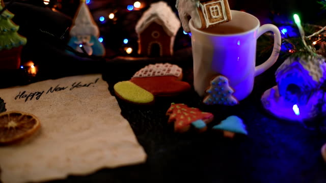 Christmas cookies and cup of tea video