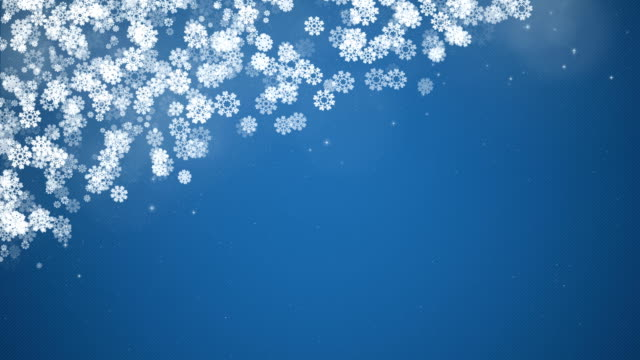 Christmas Corner Frame with Snowflakes on Blue Background. video