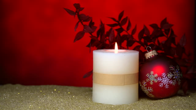 Christmas decoration on red background video