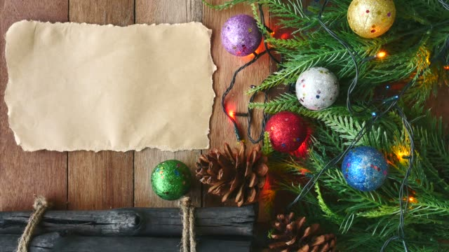 Christmas decoration with blank paper on the table video