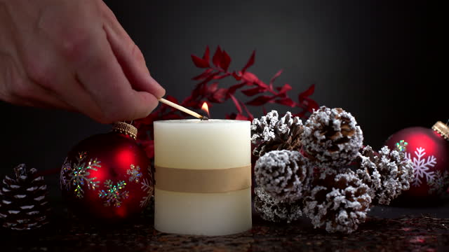 Christmas decoration with candle Christmas decoration with candle weihnachten stock videos & royalty-free footage