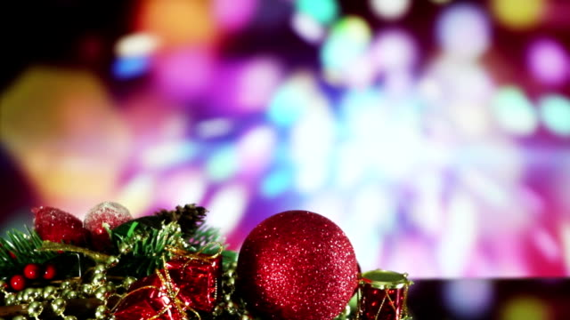 christmas decorations and sparkler on background seamless loop video