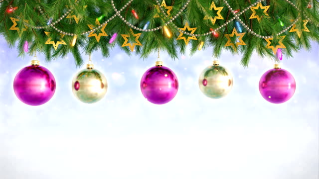 Christmas Decorations Hanging and Rotating From Twigs- 3D render. Seamless loop video