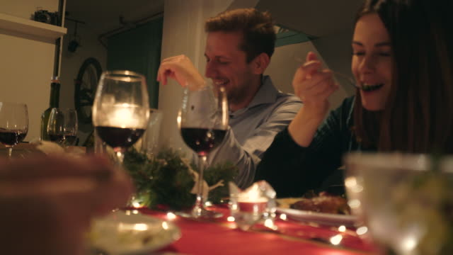 christmas dinner with friends. - christmas table video stock e b–roll