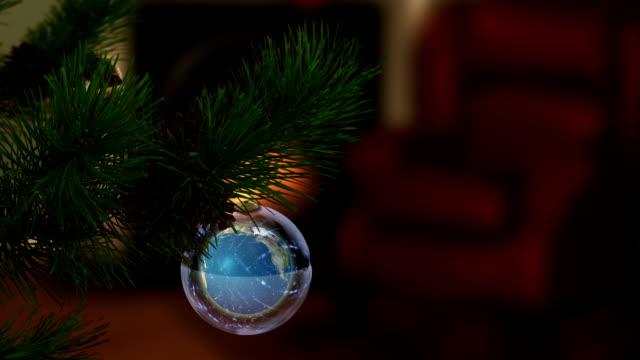 natale globo di terra - glass world video stock e b–roll