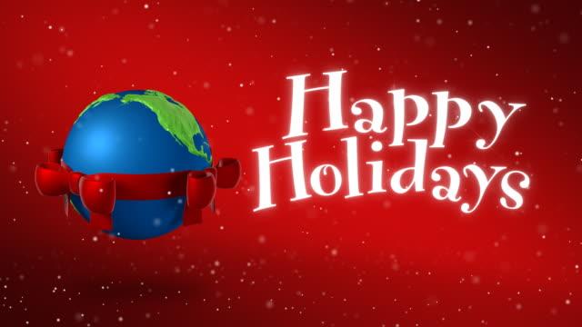 vídeos y material grabado en eventos de stock de tierra felices fiestas de navidad - happy holidays