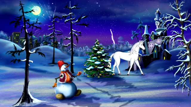 Christmas Fantasy with Magic Unicorn UHD video