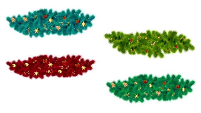 weihnachtliche festelemente mit tannenzweigen - girlande dekoration stock-videos und b-roll-filmmaterial