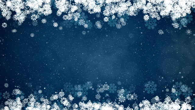 Christmas Frame Blue Background. Abstract Winter Card with Snowflakes. video