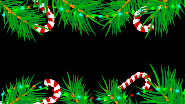 cornice natalizia su sfondo nero. sfondo astratto con alberi da brunch, caramelle e luci - ghirlanda decorazione video stock e b–roll