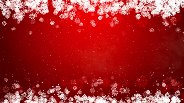 Christmas Frame Red Background. Abstract Winter Card with Snowflakes. video
