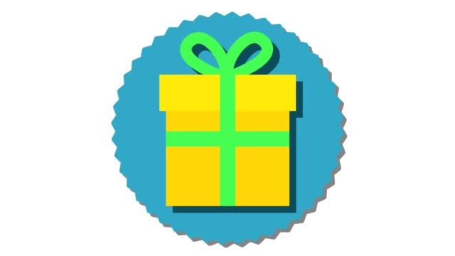 クリスマス ギフト ボックス リボンと黄色の弓 - アイコン プレゼント点の映像素材/bロール