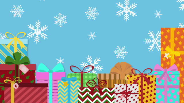 Christmas gifts pop up on snowflakes background