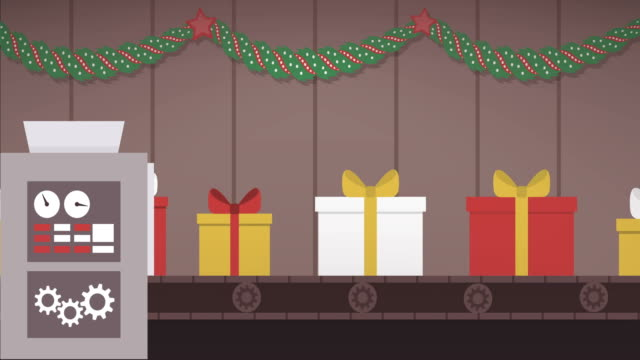 Christmas gifts production line Christmas gifts production line: items fall into a machine and they are packed into gift boxes, seamless video loop conveyor belt stock videos & royalty-free footage