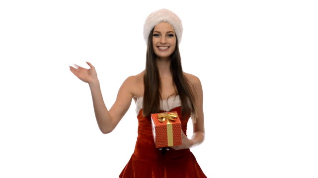 Christmas girl with a present video