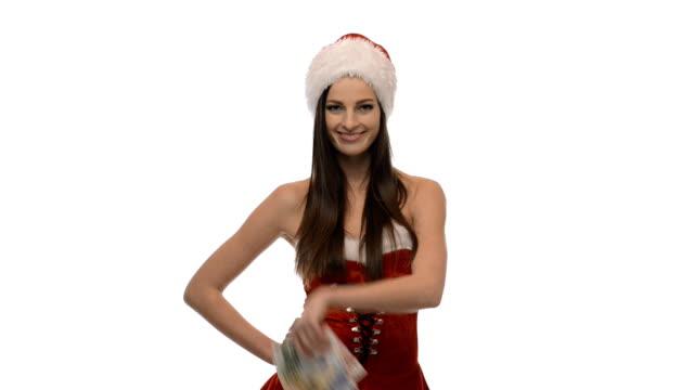 Christmas girl with money video