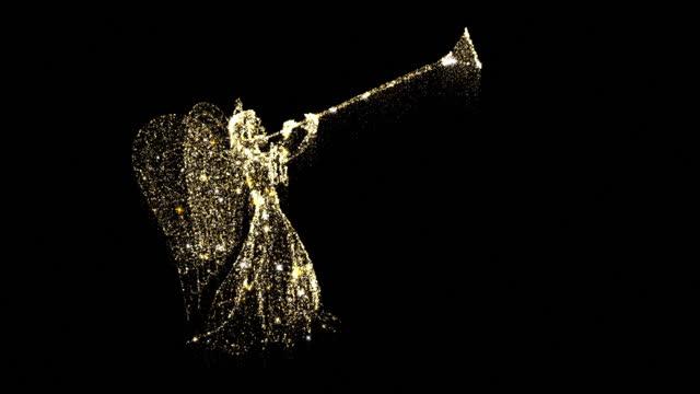 クリスマスゴールドエンジェル輝く粒子は、黒の背景に輝きで明らかに - グリーティングカード点の映像素材/bロール