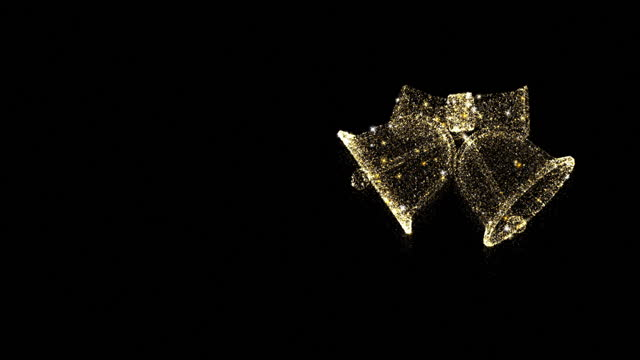 クリスマスゴールドベル輝く粒子は、黒の背景に輝きで明らかに - グリーティングカード点の映像素材/bロール