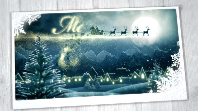 christmas greeting card (from night to day) - loop - christmas card bildbanksvideor och videomaterial från bakom kulisserna