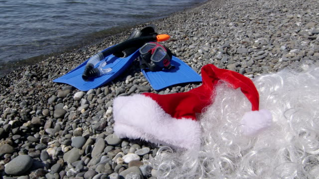 Christmas holidays and New Year at sea background video