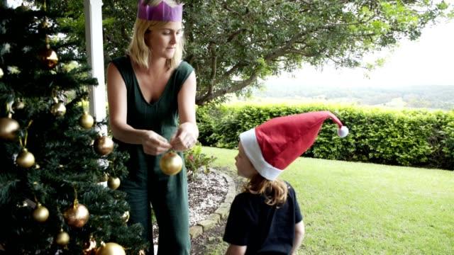 christmas in summer - pranzo di natale video stock e b–roll