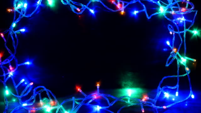 Christmas Light on black background 4K video