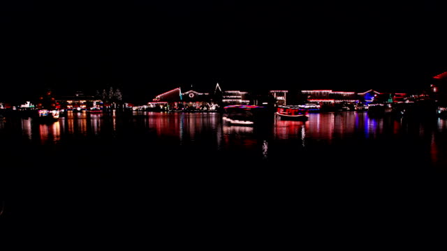 Christmas Lights Boat Parade - part one, HD video