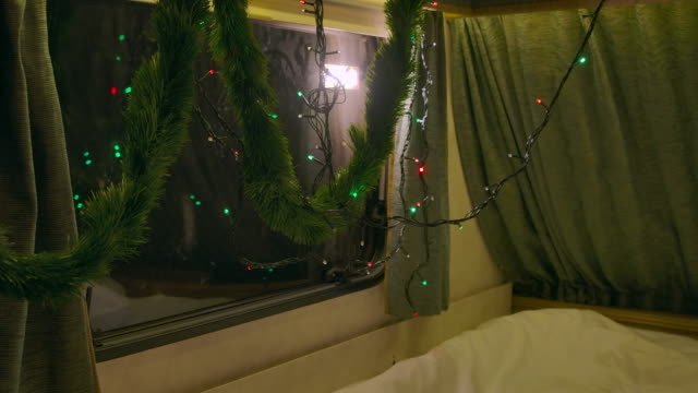 Christmas lights in Recreational vehicle flashing is colourful, home decoration