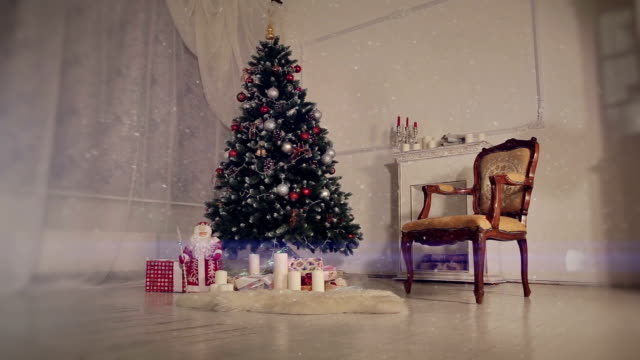 Christmas living room. Falling snow video