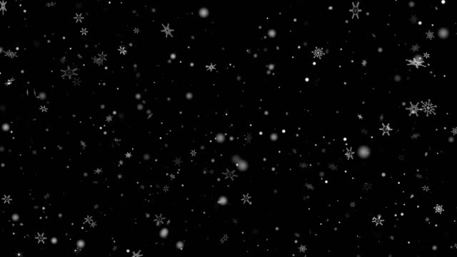 christmas magic snow snowfall alpha layer on black 4k stock video - use sceen mode - śnieg filmów i materiałów b-roll