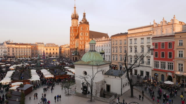 Christmas market at Rynek Glowny square video