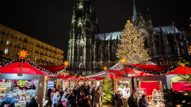 Christmas Market in front of Cologne Cathedral in Germany video