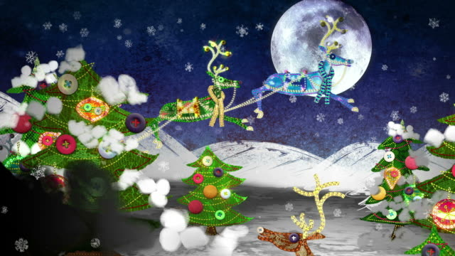 Christmas mixed-media animation: Santa and his Reindeer. video