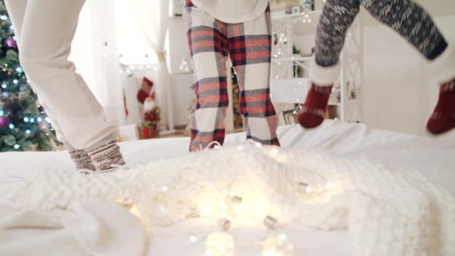 christmas morning joy 4k - pajamas stock videos & royalty-free footage