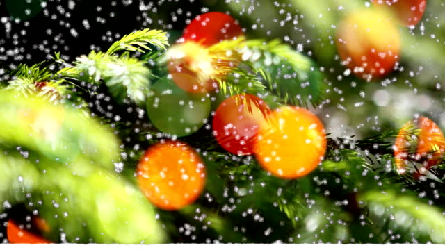 Christmas & New Year decoration on snowfall background. video