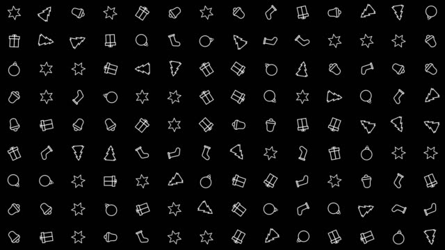 Christmas, New Year icons animation loop. Seamless pattern background. small, graphically drawn icons with Christmas, New Year theme rotate slowly on black backdrop