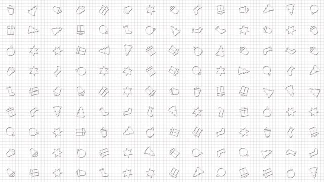 Christmas, New Year icons animation loop. Seamless pattern background. small, graphically drawn, Christmas, New Year icons rotate slowly on grid. white backdrop